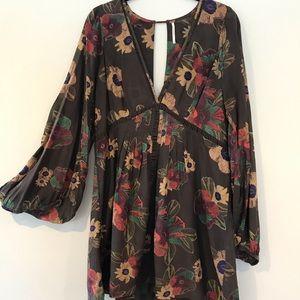 Free People Brown Boho Floral Mini Dress